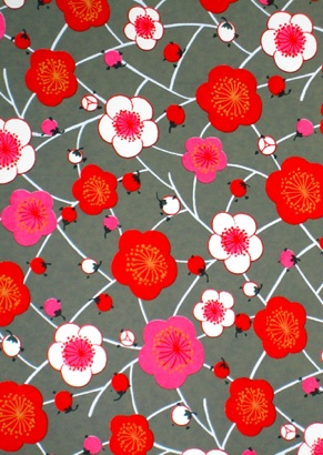 Lattice of Plum Blossoms red, white and pink on gray