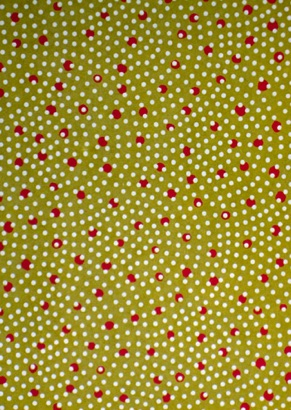Waves of Dots white and red on olive