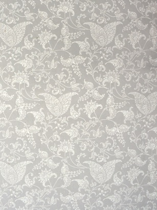 White Lacy Botanical  raised print on pale taupe