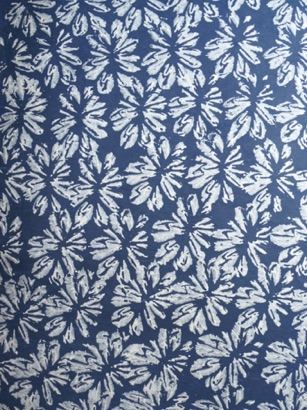 Block Printed White Flowers on blue