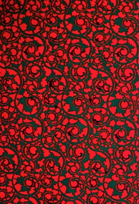 Arabesque black and green on red