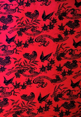 Birdsong black on red