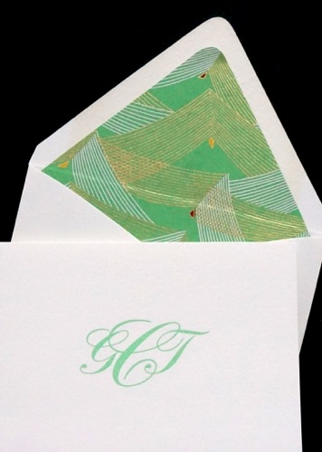 Luxe folded note card Chiogami envelope lining