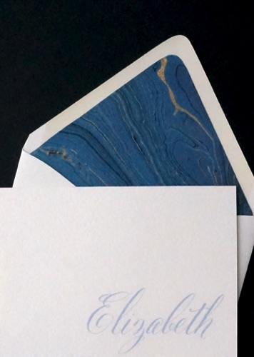 Luxe folded note card Hand marbled envelope lining