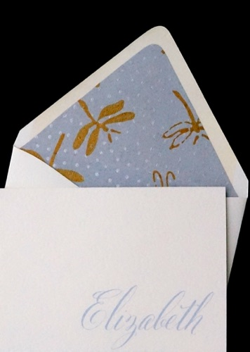 Luxe folded note card  Indian cotton Dragonfly lining
