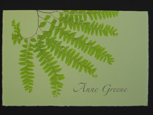 Arturo folded note with Maidenhair Fern